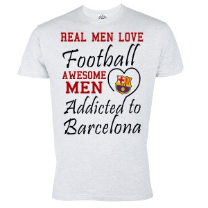 KOSZULKA DZIECIĘCA REAL MEN LOVE FOOTBALL AWESOME MEN ADDICTED TO BARCELONA